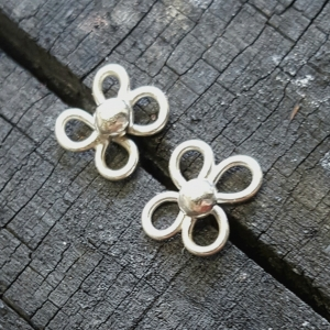 Dogwood Flower Post Earrings Sterling Silver  Handcrafted Recycled