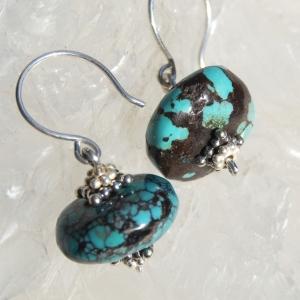 SALE Turquoise Earrings Genuine Blue Black Hubei