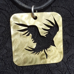 Crow in Flight Bronze Pendant Handcrafted Necklace