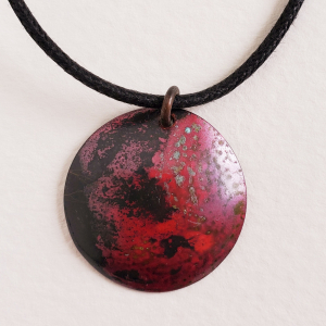 Handcrafted Red Copper Pendant Necklace Rustic Minimalist