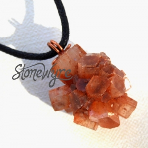 SALE Natural Aragonite Crystal Copper Pendant Necklace Mens Womens Unisex