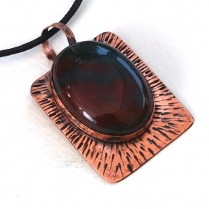 Bloodstone Copper Pendant Handcrafted Necklace