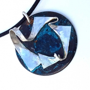 Jewel-tone Patinated Copper Disk Pendant with Sterling Twist