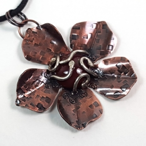 Handcrafted Copper Flower with Fancy Jasper Pendant Necklace Rustic