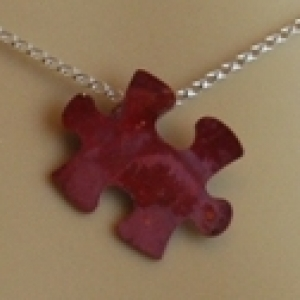 Autism Awareness Copper Pendant Red Puzzle Piece Handcrafted