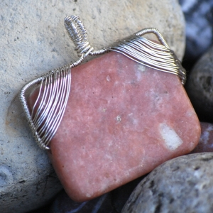 SALE! Handcrafted Wirewrapped Natural Pink Lepidolite - Pendant Only