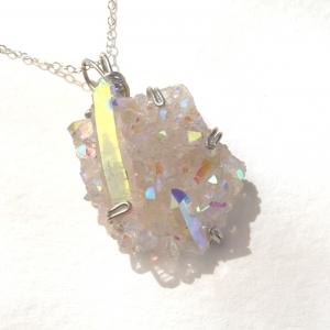 Opal Angel Aura Crystal Druzy Pendant
