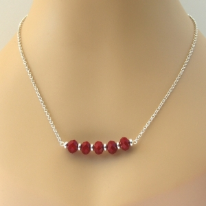 SALE Stacked Red Quartz Bar Necklace Handcrafted Sterling Silver