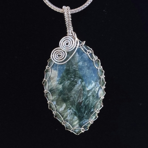 Seraphinite Angel Wing Sterling Silver Pendant