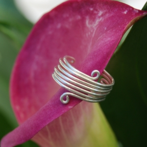 Toe Ring Coiled Wide Adjustable Handcrafted Earth Friendly Recyled Sterling Silver Wire Wrapped
